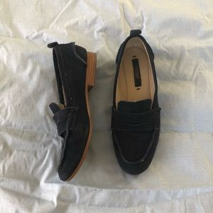 Zara Navy Blue Flat Loafers